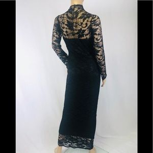 Long Black lace bodycon party cocky stretch dress